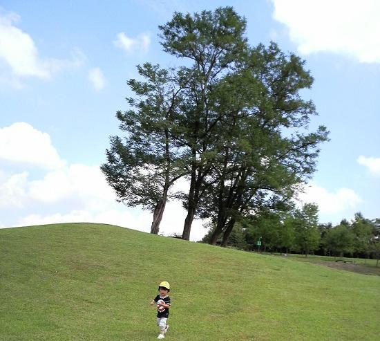 山の上の公園で遊ぶ子供