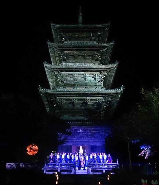 夜の備中国分寺(岡山五重塔)