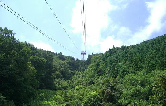 石鎚山のローブウェイからの風景