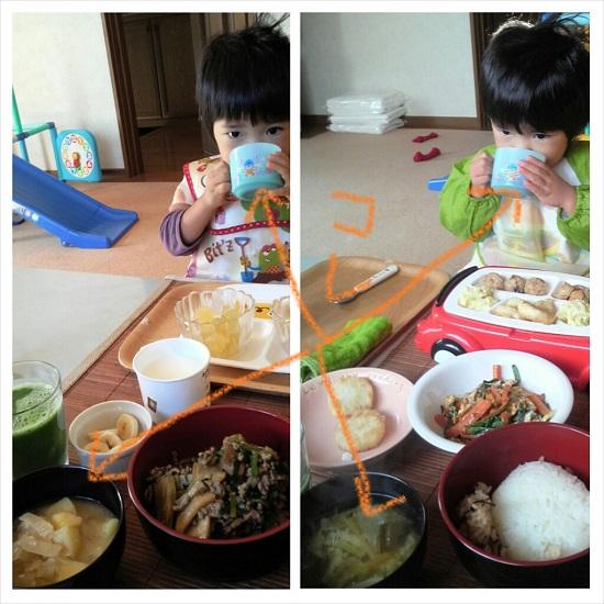 手作り夕食(離乳食)とみそ汁