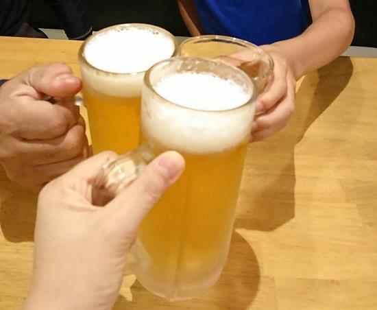 とりの助の生ビールで乾杯