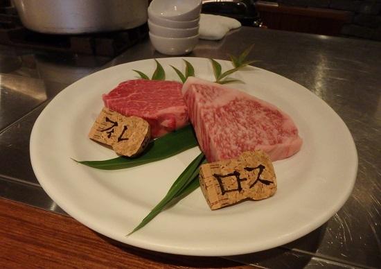 ステーキ&ワインのお店Bocciのフィレ肉とロース肉