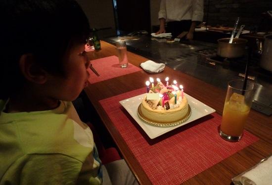 ステーキ&ワインのお店Bocciで誕生日ケーキ