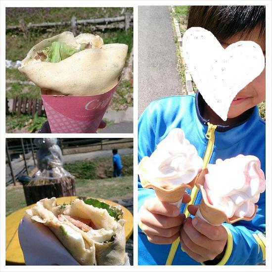 山田養蜂場みつばち農園のクレープとソフトクリーム