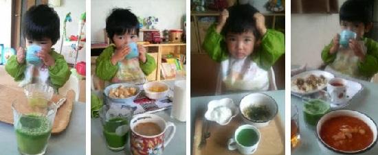 おすすめ青汁を飲む3歳児