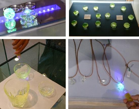 妖精の森ガラス美術館(鏡野町)のウランガラス製品