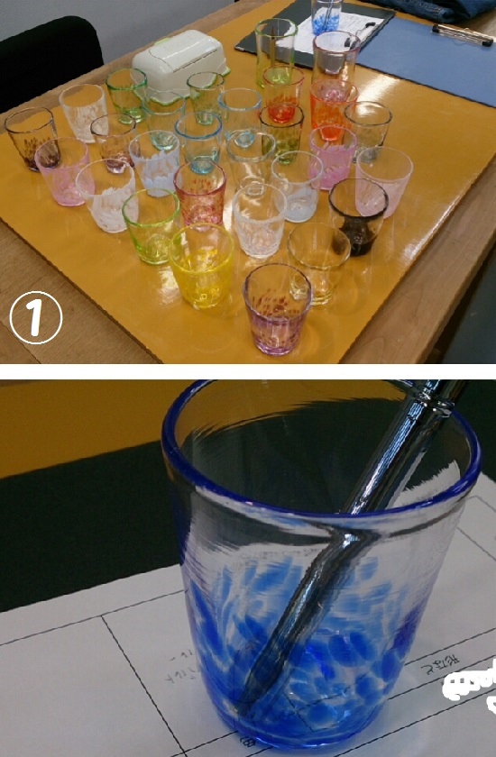 妖精の森ガラス美術館(鏡野町)のウランガラス見本