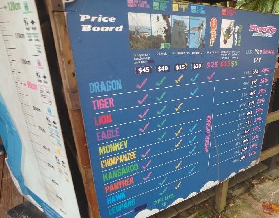 シンガポールセントーサ島のメガアドベンチャーパークの料金表