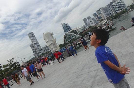 シンガポールマーライオンパークのマーライオン
