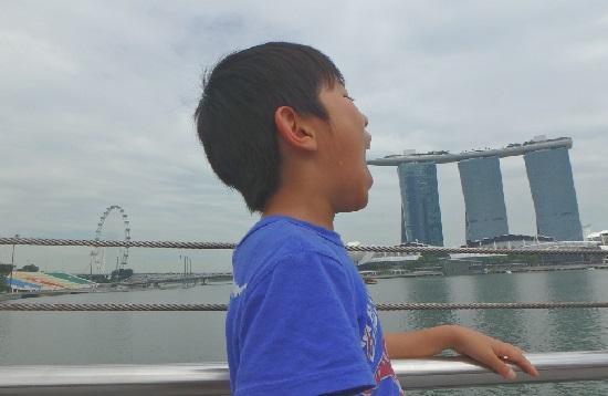 シンガポールのマリーナベイサンズと記念写真