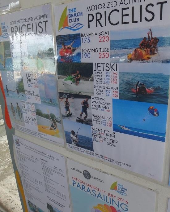 ビンタン島(インドネシア)ニルワナビーチリゾートのビーチアクティビティの値段表