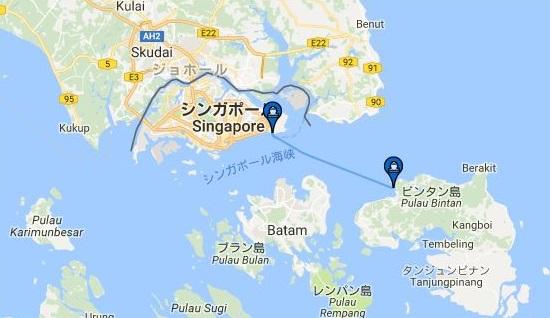 ビンタン島とシンガポール周辺の地図とフェリー航路