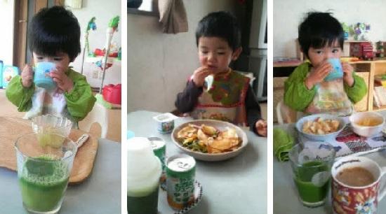 青汁を飲む3歳児