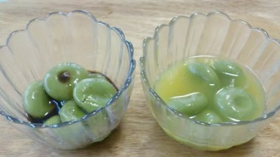 おすすめ青汁レシピで作った青汁白玉黒みつ・青汁白玉オレンジシロップ