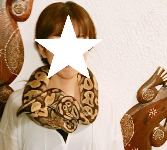 爬虫類カフェでスカーフのようにヘビを首に巻く