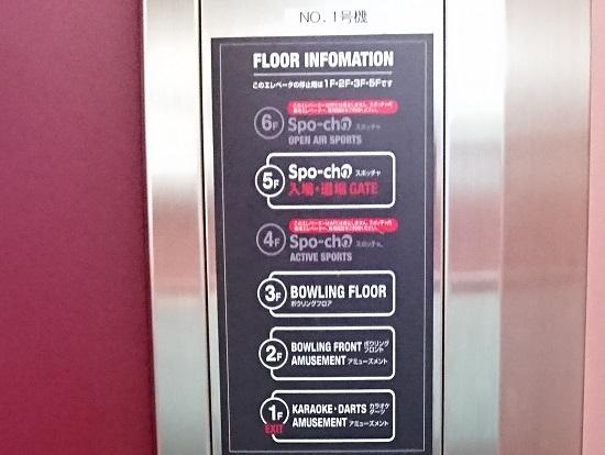 ラウンドワン(ROUND1)エレベーター