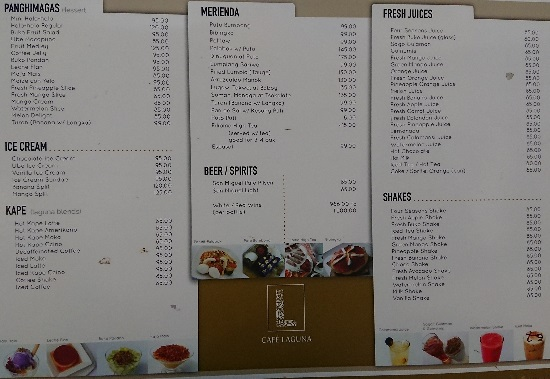 Cafe Laguna(カフェラグーナ)セブのメニュー