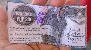 スカイウォーターパークセブ(SkyWaterpark Cebu)のフードチケット