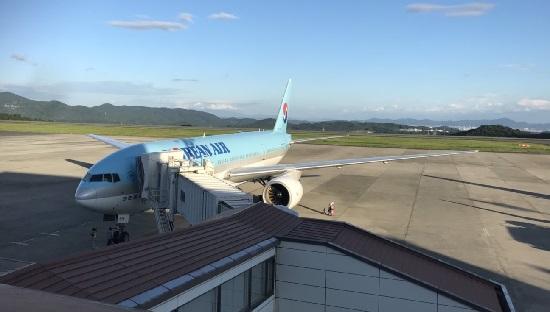 岡山空港にとまっている大韓航空(Korean Air)
