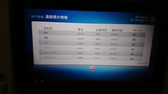 大韓航空(Korean Air)機内モニター