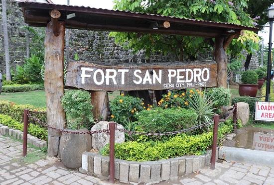 サンペドロ要塞(Fort San Pedro)入口の看板