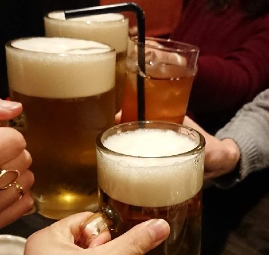 津山の居酒屋「げん太」で乾杯