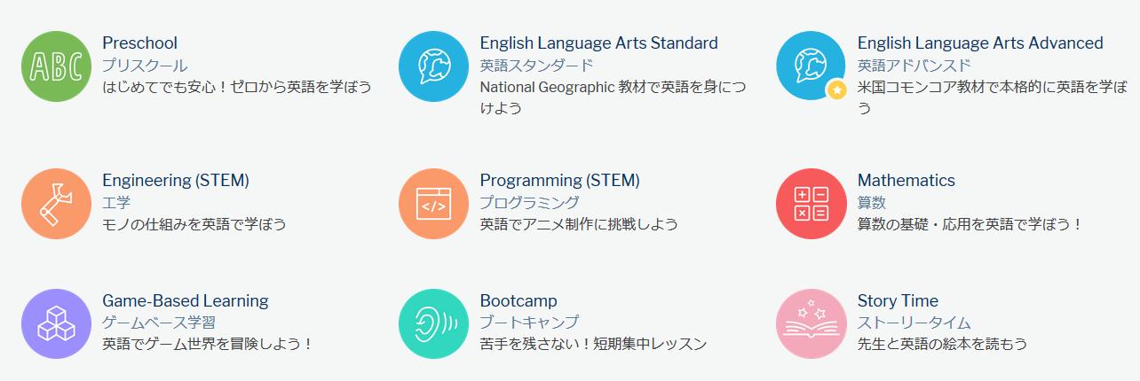Global Step Academy(グローバル ステップ アカデミー)のコース一覧