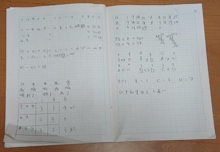 5分で論理的×思考力ドリルのノート