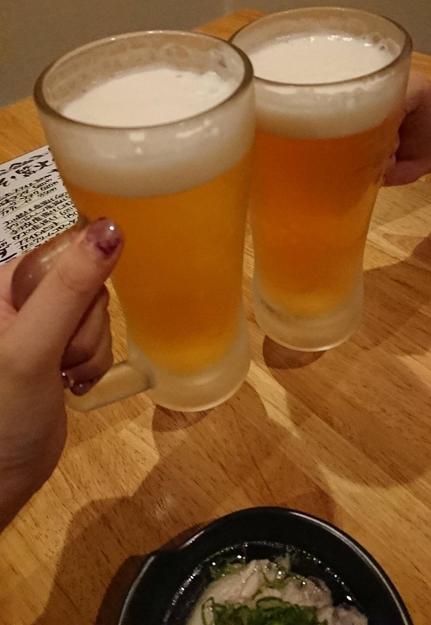 居酒屋「篝火(かがりび)」生ビール